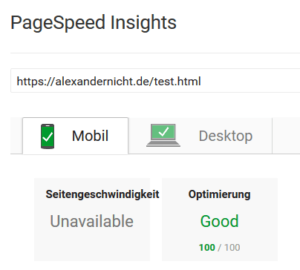 PageSpeed Analyse alexandernicht.de