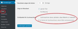 Einstellung WordPress für noindex der gesammten Seite