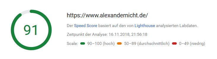 Google Pagespeed Analyse meiner Seite